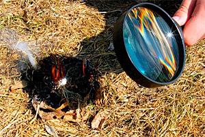 Такой линзовый огонь хорош тем, что не требует расхода материалов с ограниченным количеством - спичек или газа.