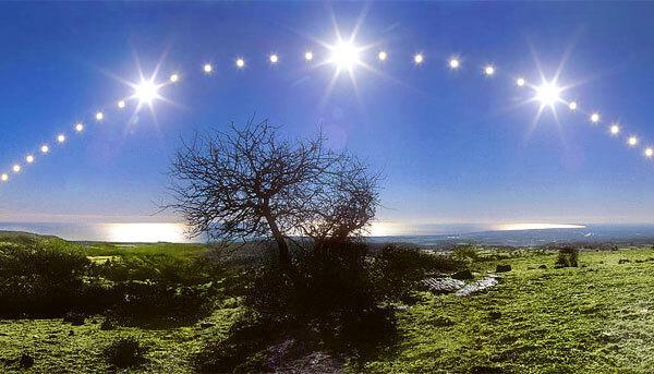 Если разбить всю эту дистанцию на равные промежутки и знать, в какое время Солнце восходит и заходит, можно с определенной точностью определять время дня.