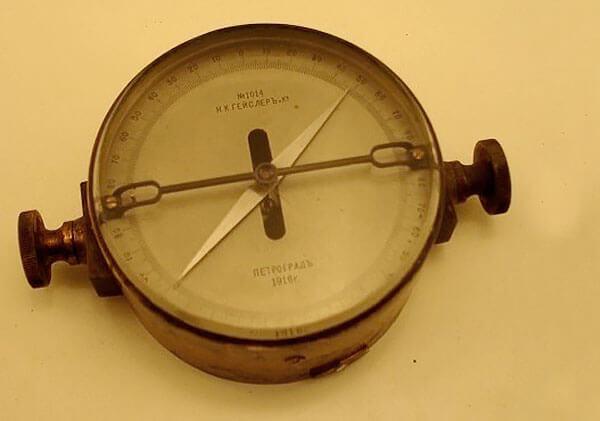 Пример антикварного электромагнитного компаса.