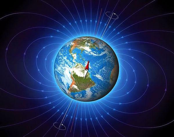 При горизонтальном расположении компаса на полюсе стрелка будет пытаться повернуться в плоскости, перпендикулярной шкале компаса.